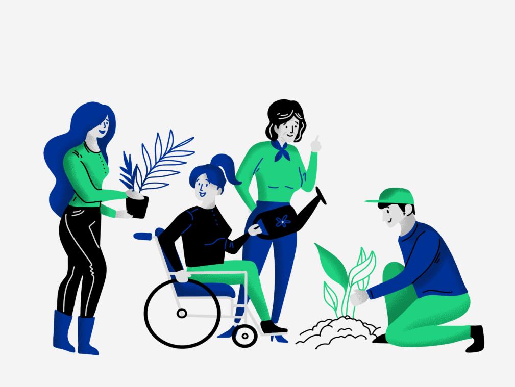 Różne osoby - kobieta trzymająca doniczkę z kwiatkiem, kobieta na wózku, kobieta z konewką w ręku i mężczyna sadzący roślinę